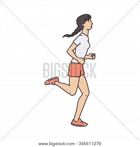 Sporty Woman Character Jogging Or Running, Sketch Vector Illustration Isolated.