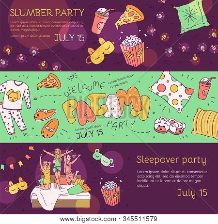 Slumber Pajama Party Banner Set - Cartoon Girls And Cute Objects