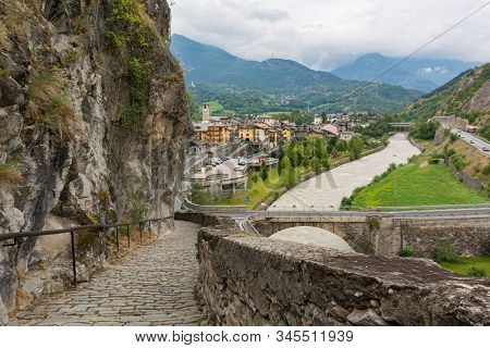 Stone Paved Path Descending Into Old Italian Mountain Town.