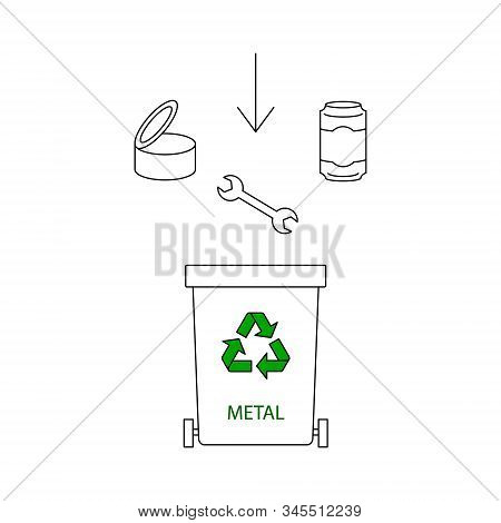 Metal Waste Container. Waste Sorting And Segregation Idea. Container For Metal Rubbish Only. Ecology