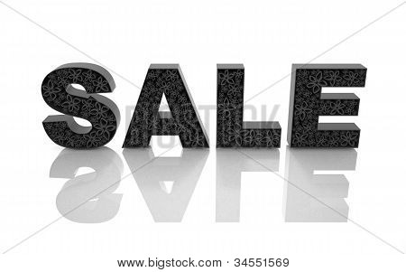 The word sale is made with black forms with abstract flowers.