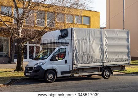 Ostrava, Czechia - January 15, 2020: Fiat Ducato Flatbed Light Commercial Vehicle Parked At Sunset O