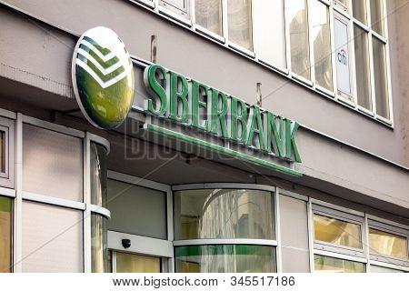 Ostrava, Czechia - January 17, 2020: The Logo Of The Russian Sberbank Bank In Ostrava, Czech Republi