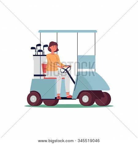 Sporty Woman Cartoon Character Drives Golf Car, Flat Vector Illustration Isolated.