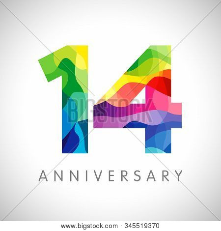 14 Th Anniversary Numbers. 14 Years Old Logotype. Bright Congrats. Isolated Abstract Graphic Web Des