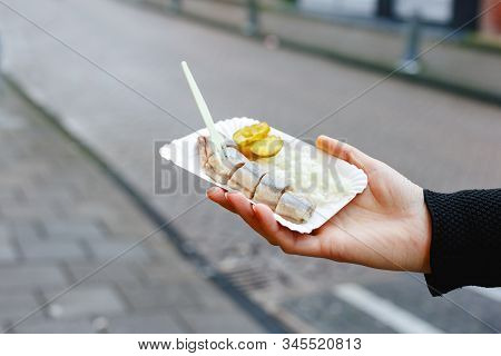 Holland Herring Fish In Female Hand Outside. Traditional Dutch Street Food, Herring Fish. Stock Phot