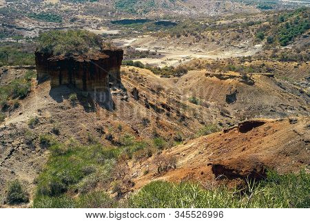 Olduvai Gorge Scenic View In The Great Rift Valley, Tanzania, East Africa. An Important Paleoanthrop