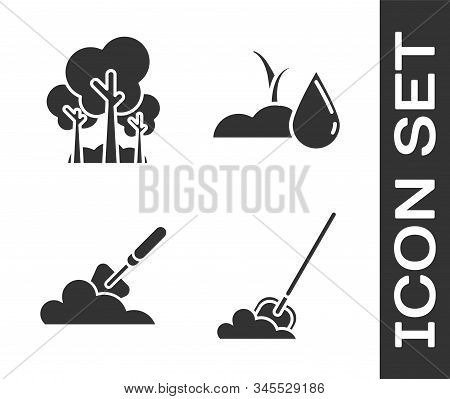 Set Shovel In The Ground, Trees, Garden Trowel Spade Or Shovel In The Ground And Watering Sprout Ico