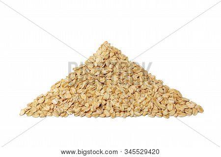 Oatmeal Health Pyramid, Isolate On A White Background. Triangle Of Oatmeal. Oatmeal Grain Isolated O