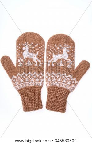 Warm Woolen Knitted Mittens Isolated On White Background. Brown Knitted Mittens With Pattern