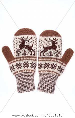 Warm Woolen Knitted Mittens Isolated On White Background. Knitted Mittens With Pattern