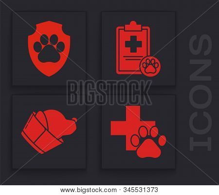 Set Veterinary Clinic Symbol, Animal Health Insurance, Clipboard With Medical Clinical Record Pet An
