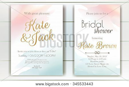 Set Of Vector Delicate Invitations With Abstract Background For Wedding, Marriage, Bridal Shower, Bi