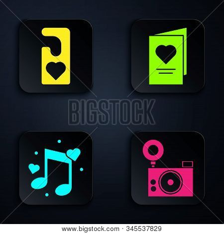 Set Photo Camera, Please Do Not Disturb With Heart, Music Note, Tone With Hearts And Valentines Day