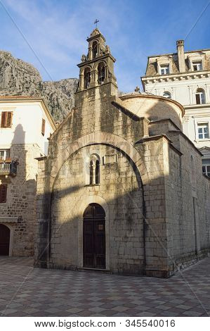 Religious Architecture. Montenegro, Old Town Of Kotor, Unesco-world Heritage Site.  View Of Church O