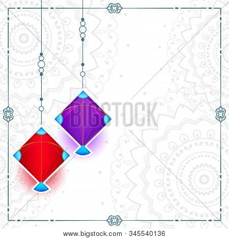 Two Kites On White Background With Text Space Design Illustration