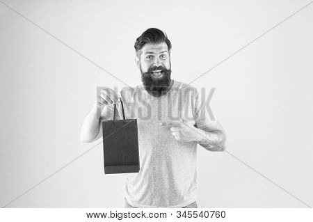 Buy Product. Gender Differences In Purchase Decision Making. Happy Hipster Hold Paper Bag. Bearded M