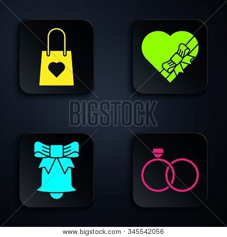 Set Wedding Rings, Shopping Bag With Heart, Ringing Bell And Candy In Heart Shaped Box And Bow. Blac