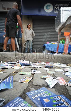 Rio, Brazil - October 03, 2010: Paper Thrown On The Floor With Election Campaign On Election Day In