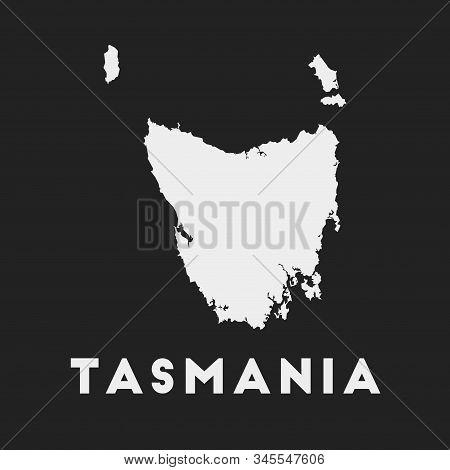 Tasmania Icon. Island Map On Dark Background. Stylish Tasmania Map With Island Name. Vector Illustra