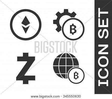 Set Globe And Cryptocurrency Coin Bitcoin, Cryptocurrency Coin Ethereum Eth, Cryptocurrency Coin Zca