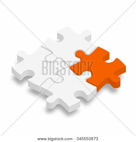 3d Jigsaw Puzzle Pieces. White Pieces With One Orange Highlighted. Team Cooperation, Teamwork Or Sol