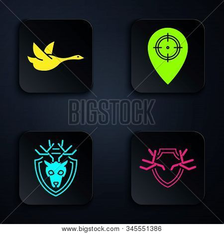 Set Deer Antlers On Shield, Flying Duck, Deer Head With Antlers On Shield And Hunt Place. Black Squa