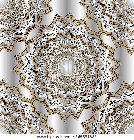 Zigzag 3d Greek Vector Mandalas Seamless Pattern. Jewelry Ornamental White Background. Greek Key Mea