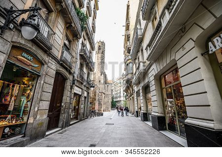 Shopping Street In Barcelona. Barcelona Is The Capital Of Catalonia. Old City Street. 03.01.2020 Bar