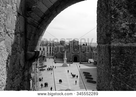 View Of Saint Theresa Square, From The Rampart Wall At Avila, Spain