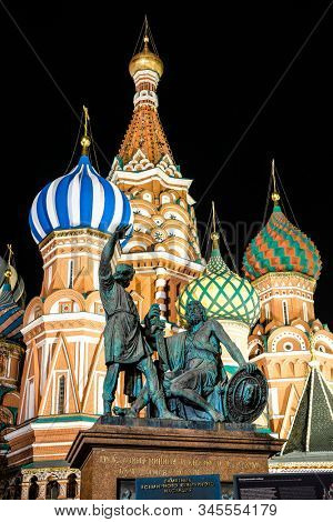 Moscow, Russia - November, 28, 2019: Close-up image of the monument to Minin and Pozharsky on Red Square at night in Moscow