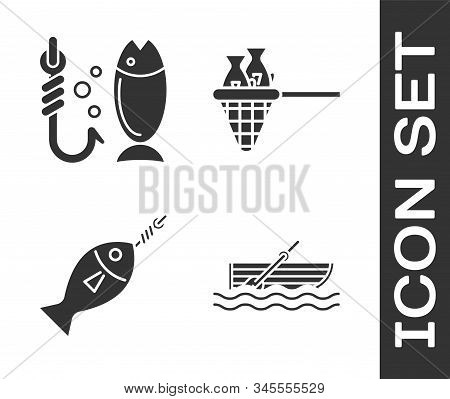 Set Fishing Boat With Oars On Water, Fishing, Fish On Hook And Fishing Net With Fish Icon. Vector