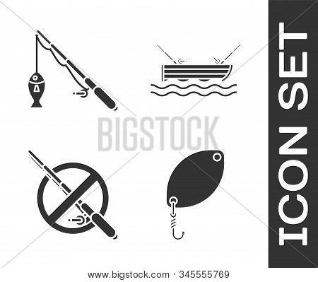 Set Fishing Spoon, Fishing Rod And Fish, No Fishing And Fishing Boaton Water Icon. Vector