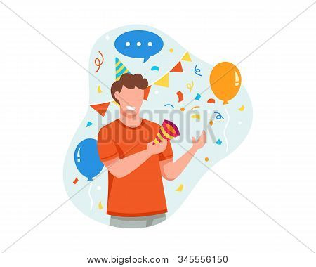 Vector Illustration Young Man Is Happy To Celebrate Something Good. Young Man Holding Party Popper C