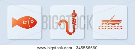 Set Fishing Hook And Worm, Fish And Fishing Boat With Oars On Water. White Square Button. Vector