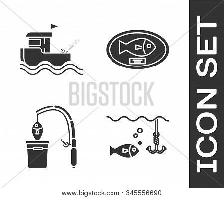Set Fishing Hook Under Water With Fish, Fishing Boat With Fishing Rod On Water, Fishing Rod And Fish
