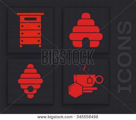 Set Cup Of Tea With Honey, Hive For Bees, Hive For Bees And Hive For Bees Icon. Vector