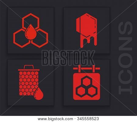 Set Hanging Sign With Honeycomb, Honeycomb, Honeycomb And Honeycomb Icon. Vector