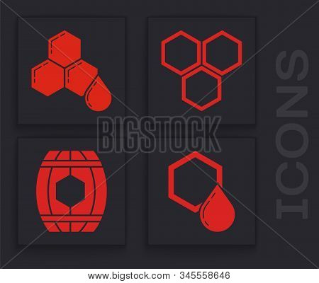 Set Honeycomb, Honeycomb, Honeycomb And Wooden Barrel With Honey Icon. Vector