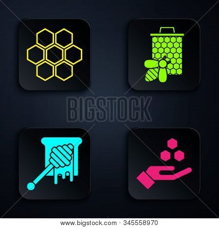 Set Honeycomb And Hand, Honeycomb, Honey Dipper Stick With Dripping Honey And Bee And Honeycomb. Bla