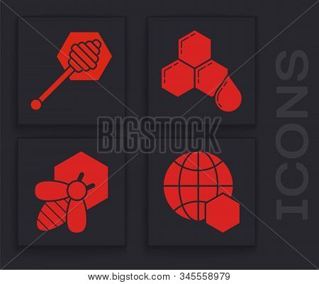 Set Honeycomb Map Of The World, Honey Dipper Stick, Honeycomb And Bee And Honeycomb Icon. Vector