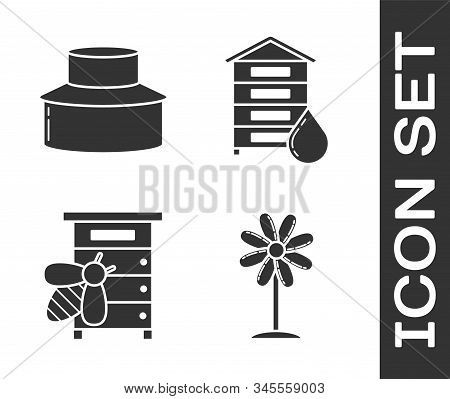 Set Flower, Beekeeper With Protect Hat, Hive For Bees And Hive For Bees Icon. Vector
