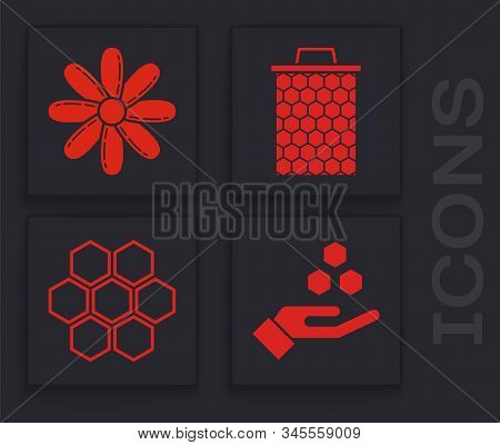 Set Honeycomb And Hand, Flower, Honeycomb And Honeycomb Icon. Vector