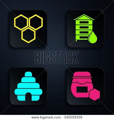 Set Jar Of Honey, Honeycomb, Hive For Bees And Hive For Bees. Black Square Button. Vector