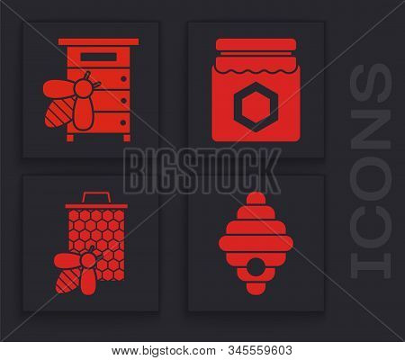 Set Hive For Bees, Hive For Bees, Jar Of Honey And Bee And Honeycomb Icon. Vector