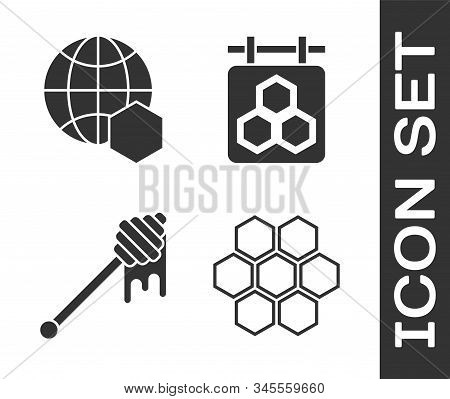 Set Honeycomb, Honeycomb Map Of The World, Honey Dipper Stick With Dripping Honey And Hanging Sign W