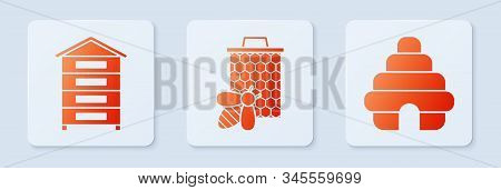 Set Bee And Honeycomb, Hive For Bees And Hive For Bees. White Square Button. Vector