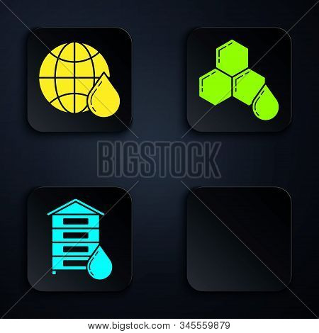 Set Hive For Bees, Honeycomb Map Of The World, Hive For Bees And Honeycomb. Black Square Button. Vec
