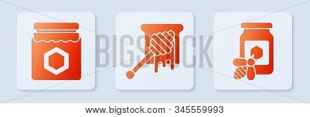 Set Honey Dipper Stick With Dripping Honey, Jar Of Honey And Jar Of Honey With Bee. White Square But