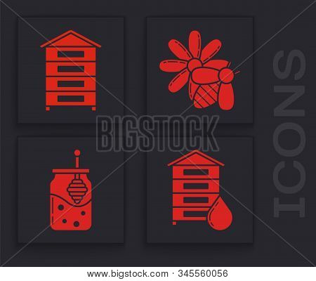 Set Hive For Bees, Hive For Bees, Bee And Flower And Jar Of Honey And Honey Dipper Stick Icon. Vecto